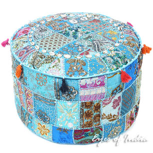 Light Blue with Shells Patchwork Round Pouf Pouffe Bohemian Ottoman Cover - 22 X 12""