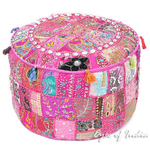 Pink Patchwork Round Pouf Pouffe Bohemian Boho Ottoman Cover with Shells- 22 X 12""
