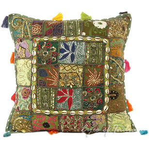 Dark Green Patchwork Colorful Decorative Boh0 Sofa Throw Couch Pillow Cushion Cover with Shells - 20""