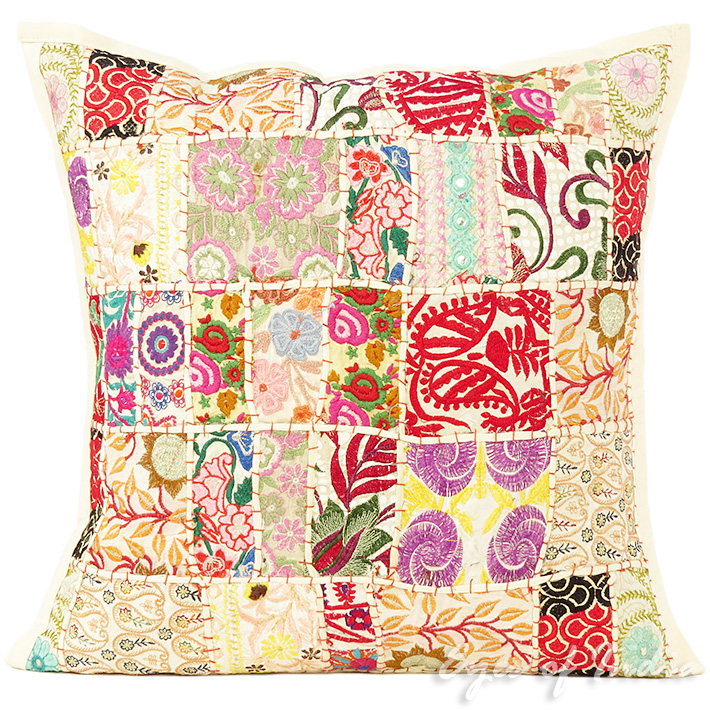 White Patchwork Colorful Decorative Boho Bohemian Pillow Couch Cushion Sofa Throw Cover - 20""