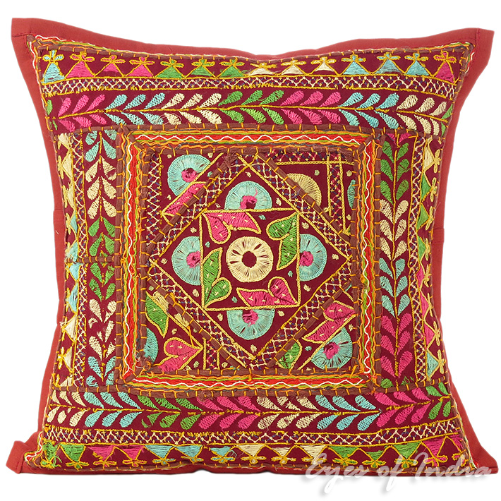 "Burgundy Red Rajkoti Patchwork Decorative Throw Pillow Bohemian Cushion Cover - 16"""