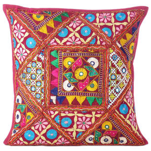 Burgundy Red Rajkoti Patchwork Colorful Decorative Sofa Throw Couch Pillow Bohemian Cushion Cover - 16""