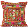 "Burgundy Red Rajkoti Patchwork Colorful Decorative Sofa Throw Couch Pillow Bohemian Cushion Cover - 16"" 1"