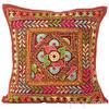 "Burgundy Red Rajkoti Patchwork Decorative Throw Pillow Bohemian Cushion Cover - 16"" 1"