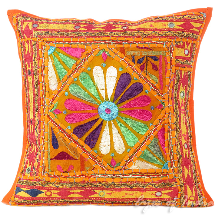 Orange Rajkoti Patchwork Boho Bohemian Sofa Colorful Throw Pillow Couch Cushion Cover - 16""