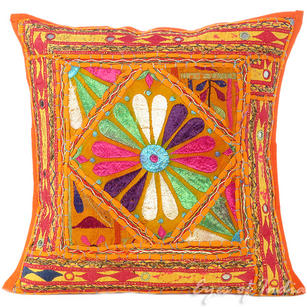 Orange Rajkoti Patchwork Boho Bohemian Throw Pillow Couch Cushion Cover - 16""