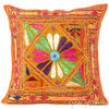 "Orange Rajkoti Patchwork Boho Bohemian Sofa Colorful Throw Pillow Couch Cushion Cover - 16"" 1"