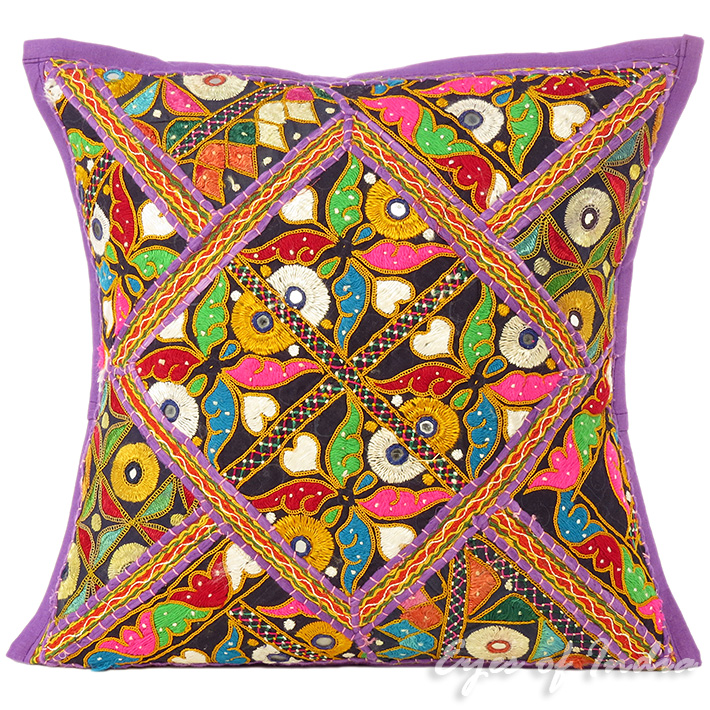 Purple Rajkoti Boho Patchwork Throw Pillow Bohemian Couch Cushion Cover - 16""