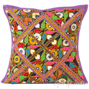 Purple Rajkoti Boho Patchwork Sofa Colorful Throw Pillow Bohemian Couch Cushion Cover - 16""