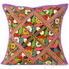 "Purple Rajkoti Boho Patchwork Throw Pillow Bohemian Couch Cushion Cover - 16"" 1"