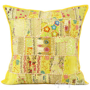 Yellow Embroidered Colorful Decorative Bohemian Sofa Throw Couch Pillow Boho Cushion Cover - 24""