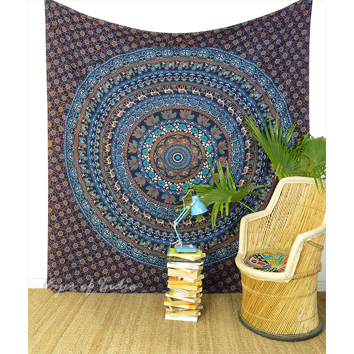 Large Queen Blue Indian Hippie Mandala Tapestry Bedspread Beach Blanket Dorm Boh