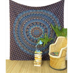 Large Queen Blue Indian Hippie Mandala Tapestry Bedspread Beach Blanket Dorm Bohemian Accent Boho Chic Handmade