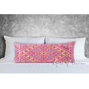 Pink Embroidered Swati Bolster Long Lumbar Colorful Decorative Sofa Couch Pillow Cushion Cover - 14 X 32""