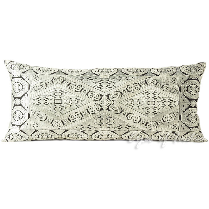 Silver Grey Embroidered Swati Colorful Bolster Long Lumbar Gray Couch Pillow Cushion Cover - 14 X 32""