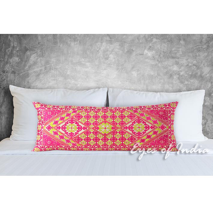 Pink Colorful Decorative Embroidered Swati Bolster Long Lumbar Pillow Couch Cushion Cover - 14 X 32""