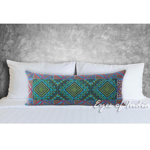Green and Purple Embroidered Swati Colorful Bolster Long Lumbar Couch Pillow Cushion Cover - 14 X 32""