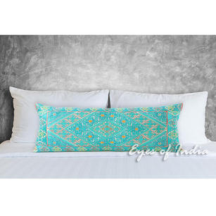 Turquoise Teal Embroidered Swati Bolster Long Lumbar Colorful Couch Pillow Cushion Cover - 14 X 32""