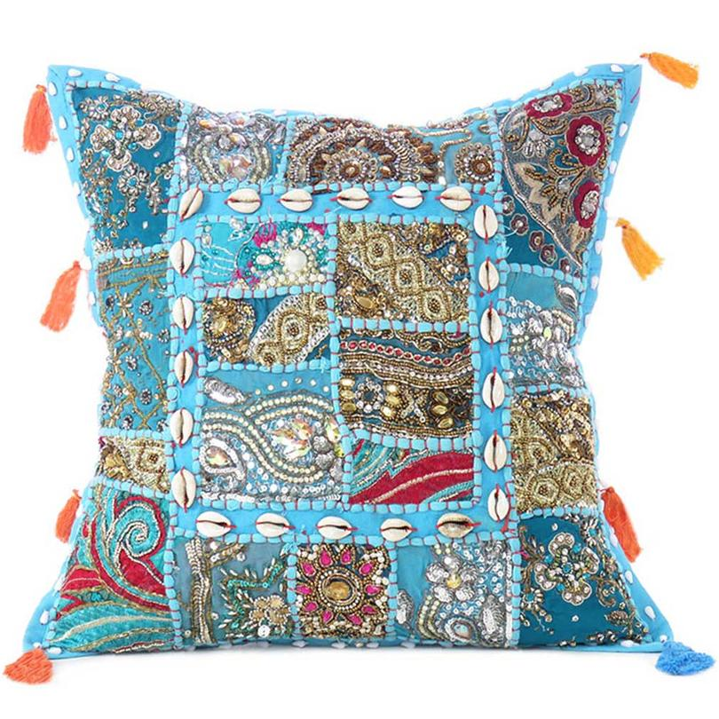 Light Blue Patchwork Colorful Decorative Boho Sofa Throw Couch Pillow Cushion Cover with Shells - 16""