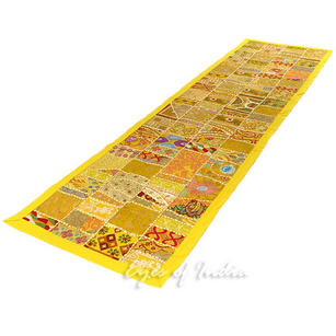 """Yellow Decorative Embroidered Patchwork Tapestry Boho Wall Hanging - 22 X 80"""""""