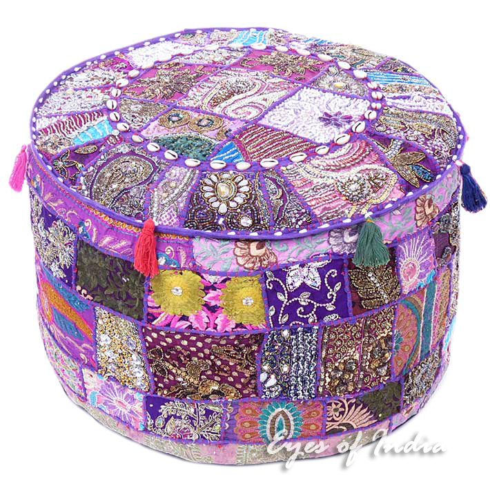 "Purple Patchwork Round Ottoman Boho Bohemian Pouf Pouffe Cover with Shells - 22 X 12"""
