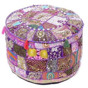 Purple Patchwork Round Ottoman Boho Bohemian Pouf Pouffe Cover with Shells - 22 X 12""