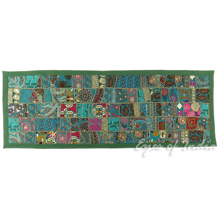 Green Decorative Embroidered Patchwork Tapestry Bohemian Wall Hanging - 20 X 60""
