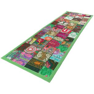 """Green Decorative Embroidered Patchwork Tapestry Bohemian Wall Hanging - 20 X 60"""""""