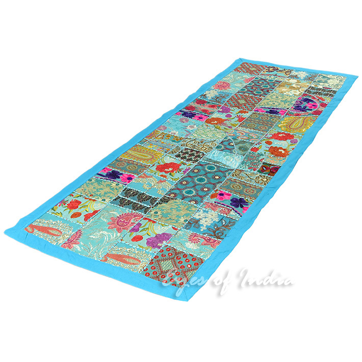 Blue Decorative Patchwork Embroidered Tapestry Boho Bohemian Wall Hanging - 20 X 60""