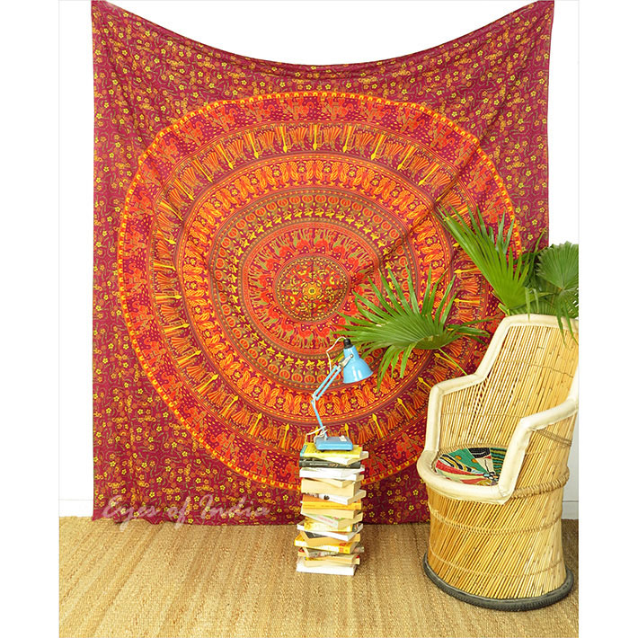 Large Queen   Red Elephant Boho Bohemian Indian Mandala Tapes