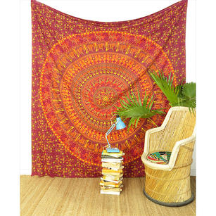 Large Queen   Red Elephant Boho Chic Bohemian Accent Indian Mandala Tapestry Bedspread Beach Blanket Dorm Handmade