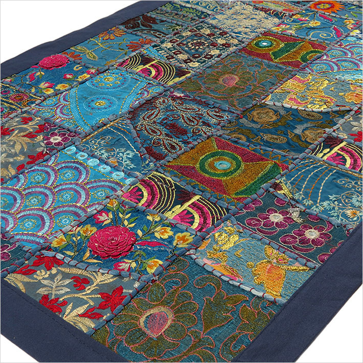 Blue Embroidered Patchwork Boho Wall Hanging Bohemian Tapestry - 20 X 40""