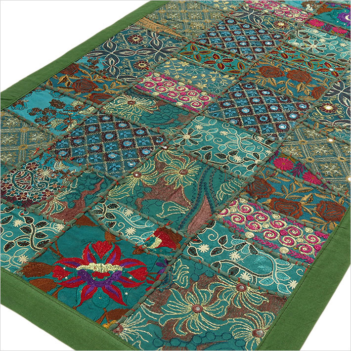 Green Embroidered Patchwork Tapestry Bohemian Wall Hanging - 20 X 40""