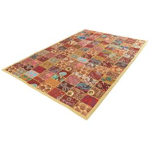 """Brown Decorative Embroidered Patchwork Tapestry Boho Wall Hanging - 20 X 40"""""""