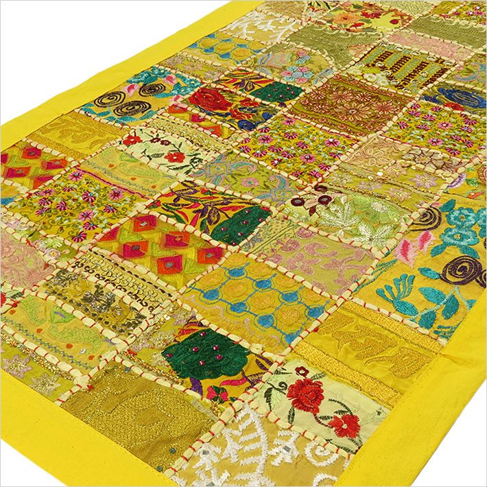 """Yellow Embroidered Patchwork Boho Wall Hanging Bohemian Tapestry - 20 X 40"""""""