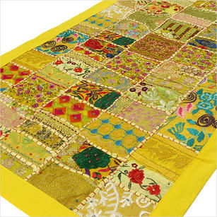 Yellow Embroidered Patchwork Boho Wall Hanging Bohemian Tapestry - 20 X 40""