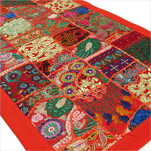 Red Embroidered Decorative Patchwork Bohemian Tapestry Boho Wall Hanging - 20 X 40""