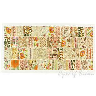 """White Decorative Patchwork Embroidered Boho Tapestry Bohemian Wall Hanging - 20 X 40"""""""