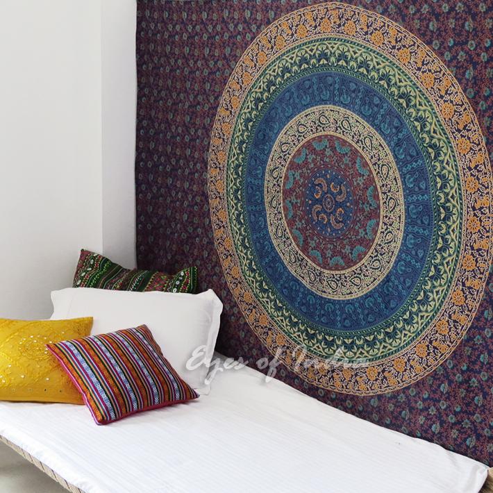 Bohemian Mandala Elephant Tapestry Hippie Boho Wall