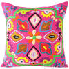"Pink Boho Colorful Decorative Embroidered Sofa Bohemian Couch Cushion Throw Pillow Cover - 16"" 1"
