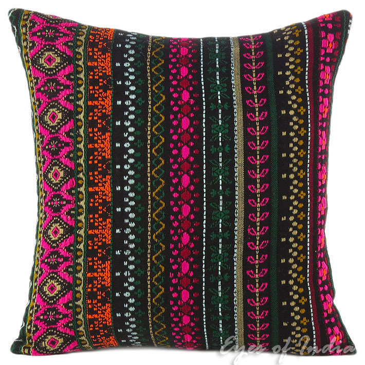 Pink Black Dhurrie Striped Boho Kilim Colorful Decorative Sofa Throw Couch Pillow Cushion Cover 16