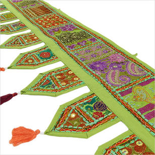 Green Bohemian Kutch Patchwork Window Door Boho Valance Toran Wall Hanging- 78""