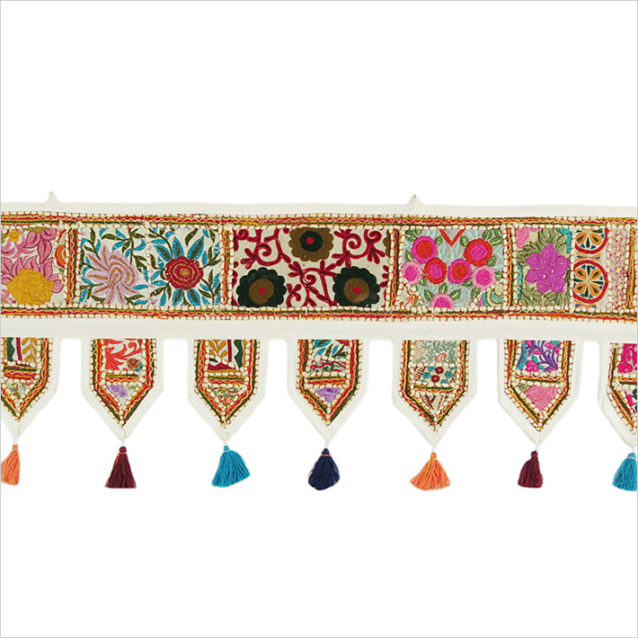 White Embroidered Patchwork Window Door Valance Toran Bohemian Tapestry - 78""