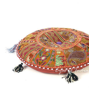 Brown Round Bohemian Decorative Seating Boho Colorful Floor Cushion Meditation Pillow Throw Cover - 17""