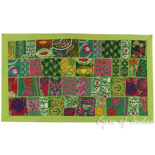 Green Embroidered Decorative Patchwork Tapestry Bohemian Wall Hanging - 20 X 40""