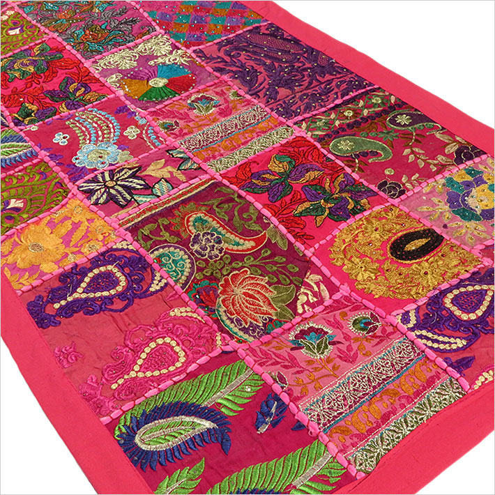 Pink Embroidered Decorative Patchwork Bohemian Tapestry Boho Wall Hanging - 20 X 40""