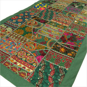 """Green Decorative Patchwork Embroidered Tapestry Boho Wall Hanging - 22 X 80"""""""