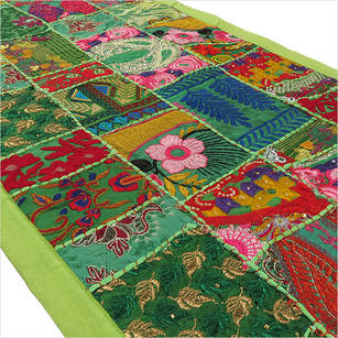 Green Embroidered Decorative Patchwork Tapestry Bohemian Wall Hanging - 22 X 80""