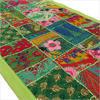 "Green Embroidered Decorative Patchwork Tapestry Bohemian Wall Hanging - 22 X 80"" 1"
