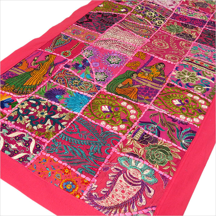 """Pink Decorative Embroidered Patchwork Tapestry Boho Bohemian Wall Hanging - 22 X 80"""""""